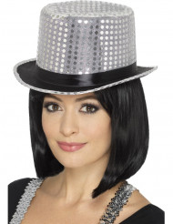 Hoge hoed met zilverkleurige lovertjes voor volwassenen