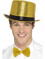 Goudkleurige hoed met zwart lint voor volwassenen