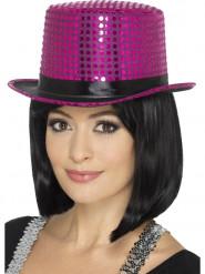 Hoge roze hoed met pailletten volwassenen
