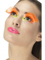 Fluo oranje wimpers met stippen voor volwassenen