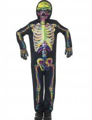 Kleurrijk fosforescerend skeletkostuum voor kinderen