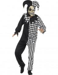 Duivelse zwarte en witte hofnar kostuum voor mannen