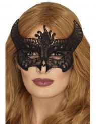 Zwart kanten duivel masker voor vrouwen