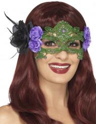 Groen kant masker met paarse en zwarte rozen voor vrouwen