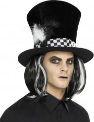 Zwarte hoge hoed met haren voor volwassenen