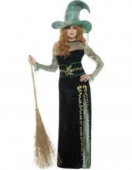 Smaragdgroen heksen kostuum voor vrouwen
