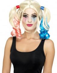 Gekke blonde harlekijn pruik voor vrouwen