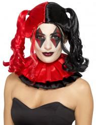 Zwart rode harlekijn pruik voor dames