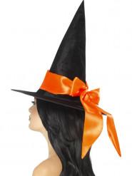 Zwarte hoed met oranje strik voor vrouwen
