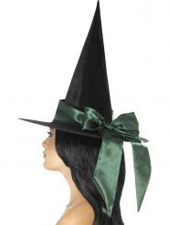 Zwarte hoed met groene strik voor vrouwen