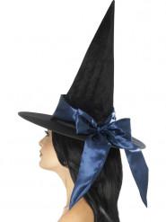Zwarte hoed met donkerblauwe strik voor vrouwen
