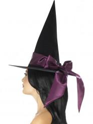 Zwarte hoed met paarse strik voor vrouwen