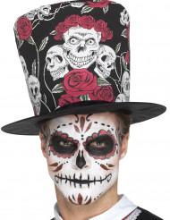 Dia de los Muertos schedel hoge hoed voor volwassenen