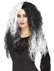 Lange zwarte en witte tweekleurige pruik voor vrouwen