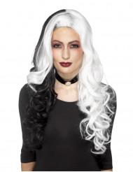 Zwart witte Cruella pruik dames