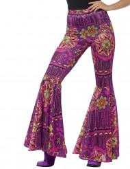 Roze psychedelische hippie broek voor vrouwen