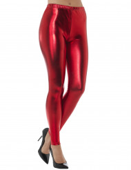 Rode metallic legging voor volwassenen