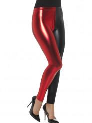 Zwarte en rode metallic legging voor vrouwen