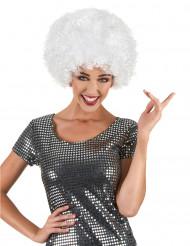 Witte disco afropruik voor volwassenen