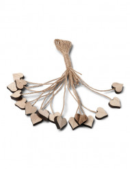 16 houten hartjes met touw