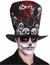 Doodskop en rode rozen hoge hoed voor volwassenen