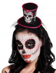 Mini Dia de los Muertos skelet hoge hoed voor dames
