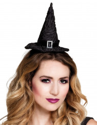 Mini zwarte heksenhoed voor vrouwen