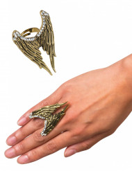 Goudkleurige engelenvleugels ring voor volwassenen