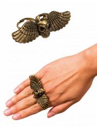 Goudkleurige vliegende duivel ring voor volwassenen