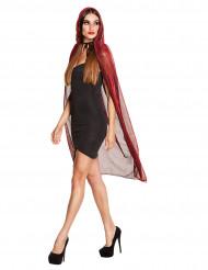 Glanzende rode cape met capuchon voor vrouwen