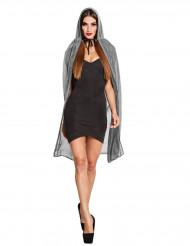 Glanzende zilverkleurige cape met capuchon voor vrouwen