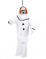 Witte clown hangdecoratie