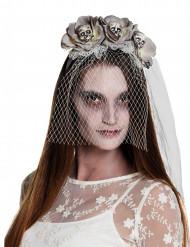 Witte zombie haarband met sluier voor vrouwen