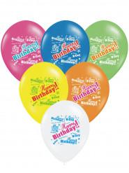 6 veelkleurige Happy Birthday ballonnen