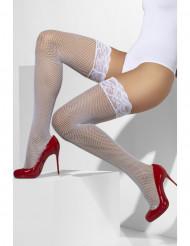 Witte netstof kousen met rand van kant voor vrouwen