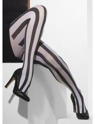 Zwarte en witte gestreepte panty voor vrouwen