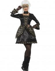 Zwart en goudkleurig barok kostuum voor vrouwen