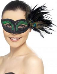 Venetiaans masker met pauw veren voor vrouwen