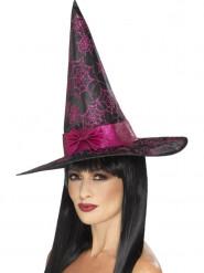 Heksen hoed zwart met roze voor volwassenen