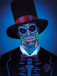 Fosforescerende Dia de los Muertos latex schmink