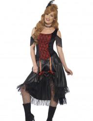 Sexy zwart en rood saloon kostuum voor vrouwen
