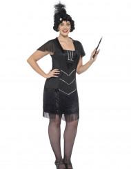 Zwart charleston kostuum met franjes voor dames