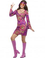 Paarse bloemen hippie kostuum voor vrouwen