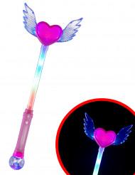 Lichtgevende hart toverstaf met vleugels