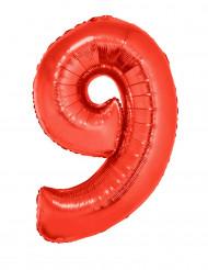 Enorme aluminium ballon cijfer 9 rood