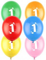 12 gekleurde ballonnen cijfer 1 jaar