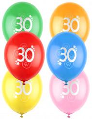 12 gekleurde ballonnen 30 jaar