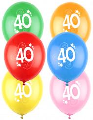 12 gekleurde ballonnen cijfer 40 jaar
