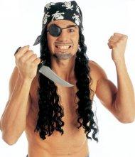Piratenpruik met bandana en ooglapje voor volwassenen