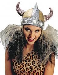 Zilverkleurige viking helm met haren voor volwassenen
